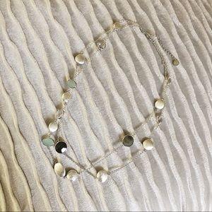 Stella & Dot long layer silver necklace